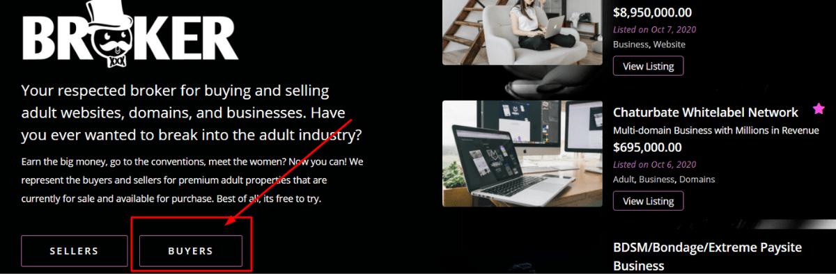 Broker.xxx acquistare un sito web per adulti o dominio